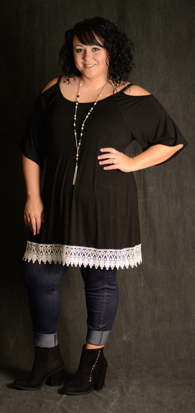 Black Cold Shoulder Lace Tunic - www.mycurvystore.com - Curvy Boutique - Plus Size