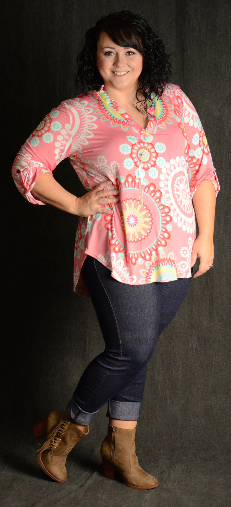Pink Geometric V-Neck Top - www.mycurvystore.com - Curvy Boutique - Plus Size