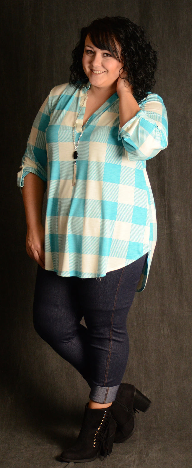 Aqua Checker V-Neck Top - www.mycurvystore.com - Curvy Boutique