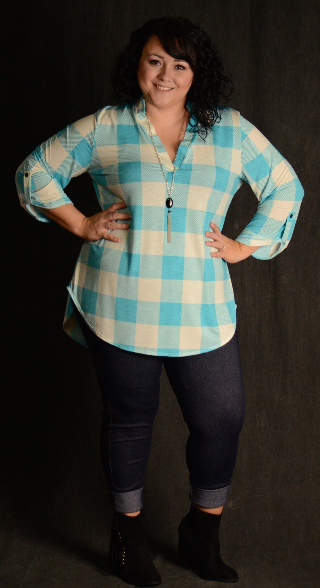 Aqua Checker V-Neck Top - www.mycurvystore.com - Curvy Boutique - Plus Size