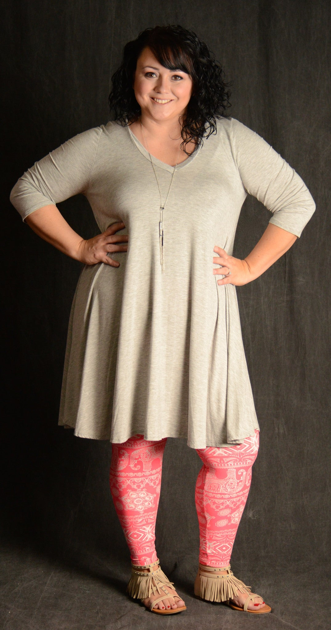 Heather Grey Loose Fit Dress - www.mycurvystore.com - Curvy Boutique - Plus Size