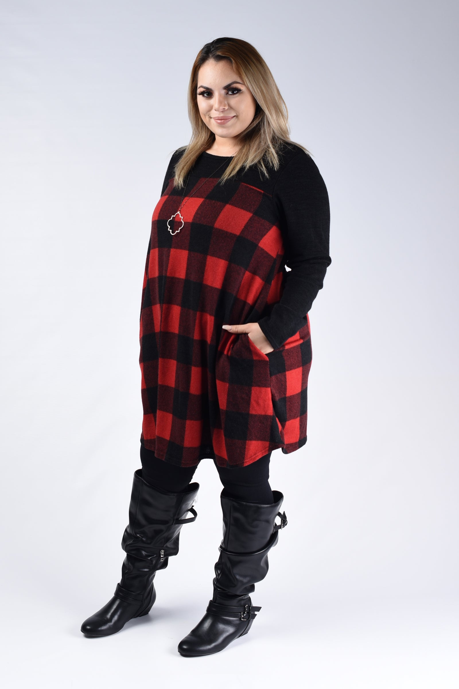 Buffalo Plaid Dress - Black & Red - www.mycurvystore.com - Curvy Boutique - Plus Size