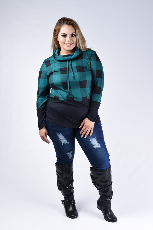 Ivy & Black Buffalo Plaid Cowl Top - www.mycurvystore.com - Curvy Boutique - Plus Size