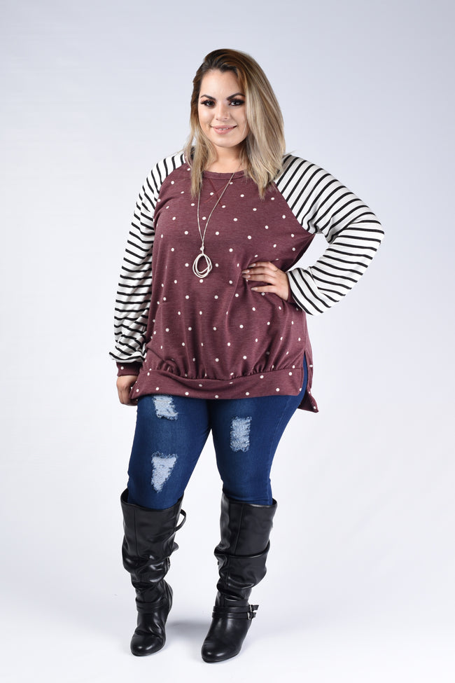 Burgundy Polka Dot & Stripe Top - www.mycurvystore.com - Curvy Boutique - Plus Size