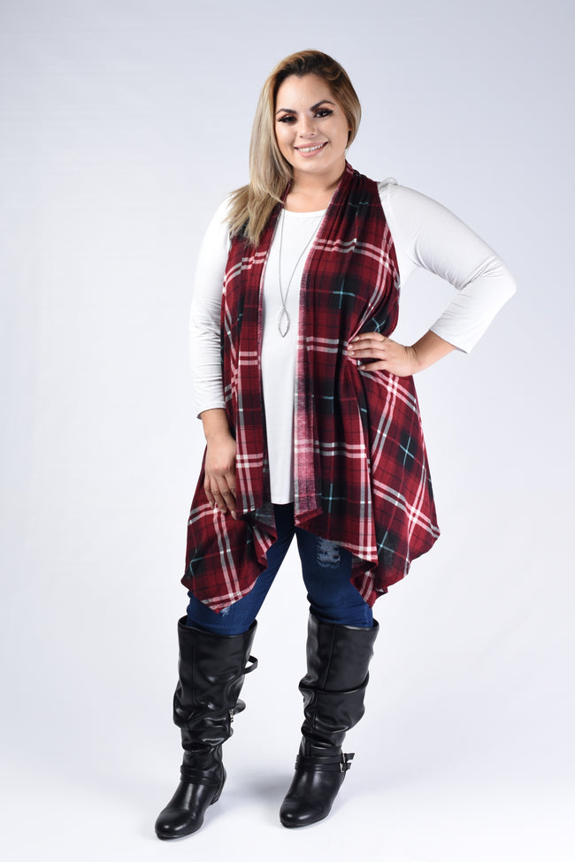 Red Plaid Asymmetrical Vest Cardigan - www.mycurvystore.com - Curvy Boutique - Plus Size