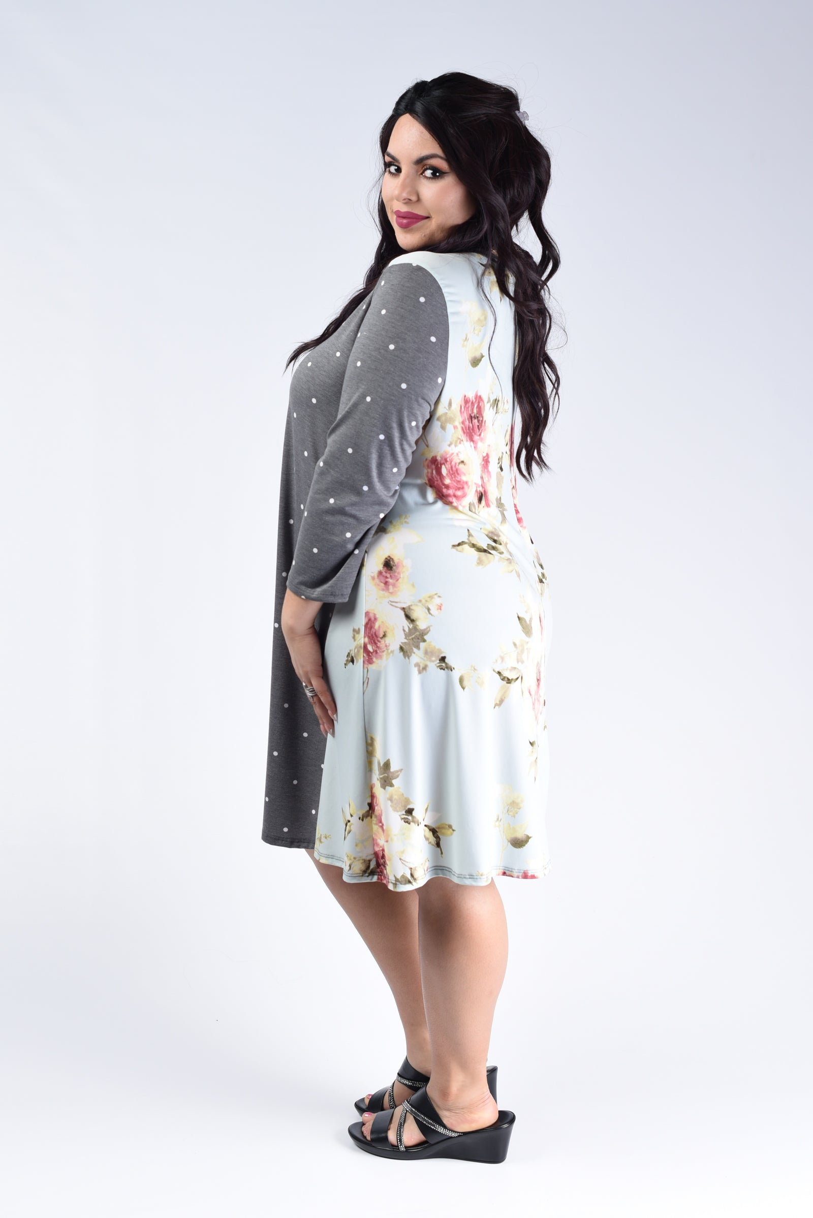 Grey Polka Dot & Floral Dress - www.mycurvystore.com - Curvy Boutique - Plus Size
