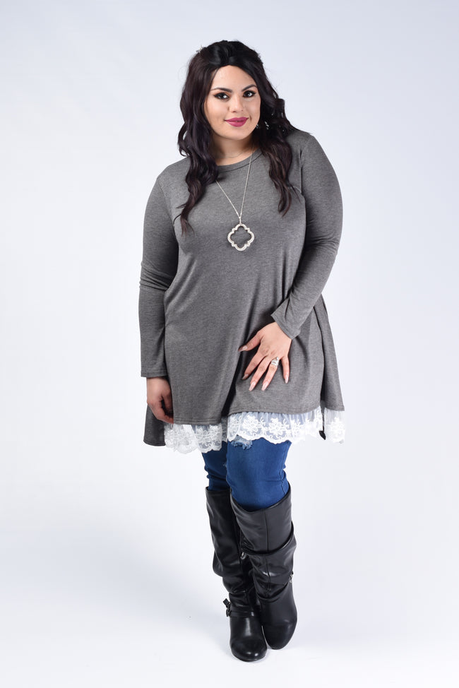 Charcoal Lace Trim Tunic Top - www.mycurvystore.com - Curvy Boutique - Plus Size