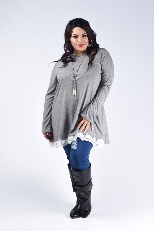 Heather Grey Lace Trim Tunic Top - www.mycurvystore.com - Curvy Boutique - Plus Size