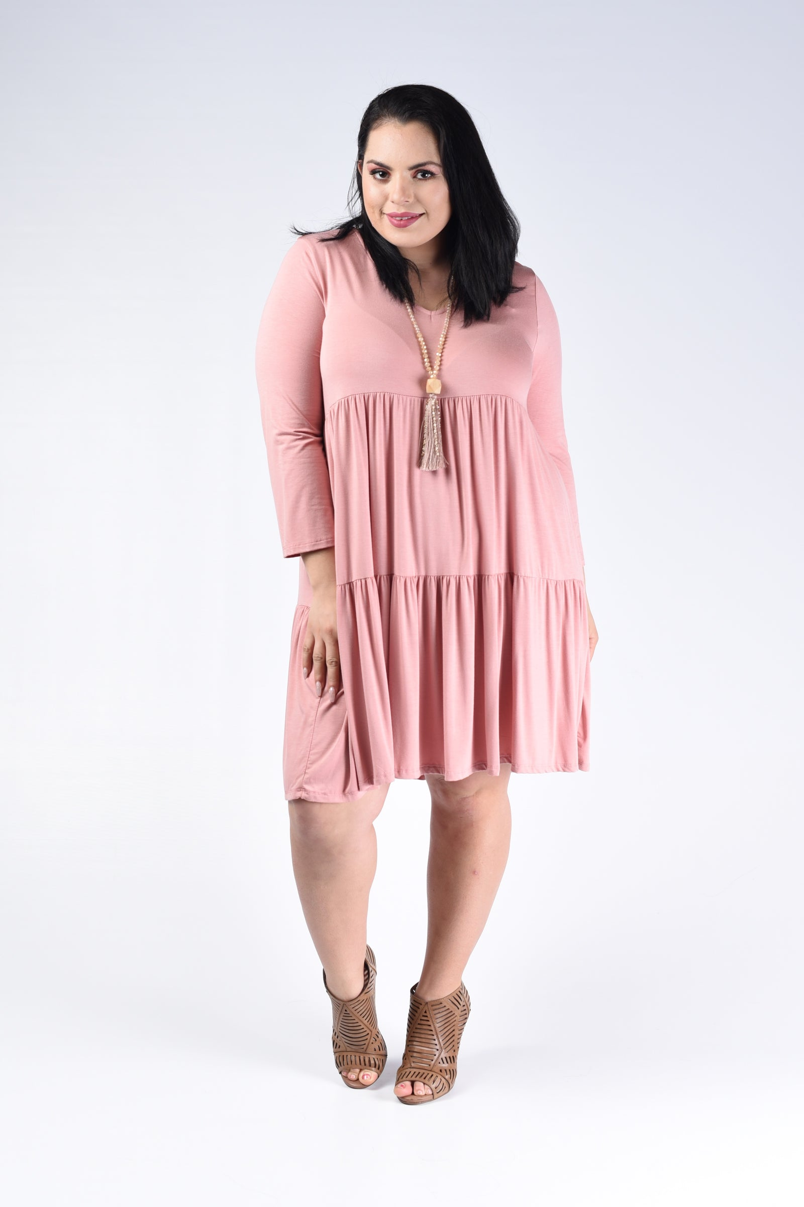 Dusty Pink Tiered V-Neck Dress - www.mycurvystore.com - Curvy Boutique - Plus Size