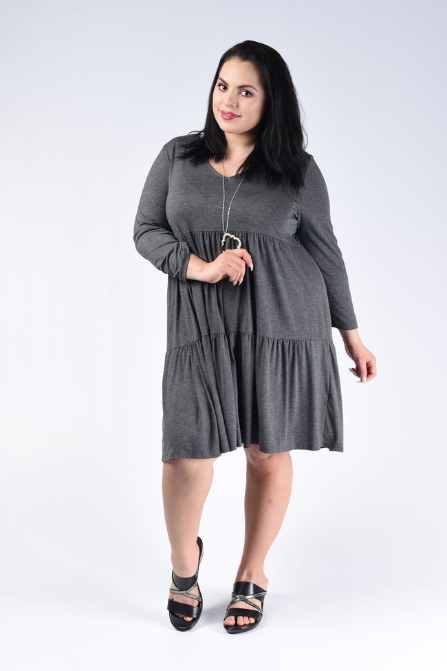 Charcoal Tiered V-Neck Dress - www.mycurvystore.com - Curvy Boutique - Plus Size