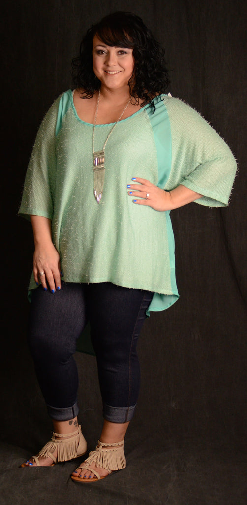 Sky Blue Sheer Back Top - www.mycurvystore.com - Curvy Boutique