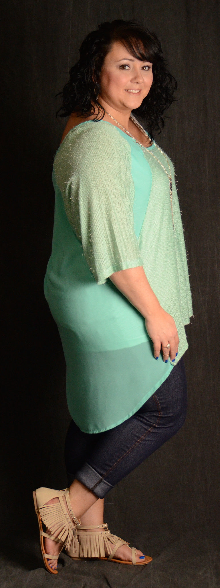 Sky Blue Sheer Back Top - www.mycurvystore.com - Curvy Boutique - Plus Size