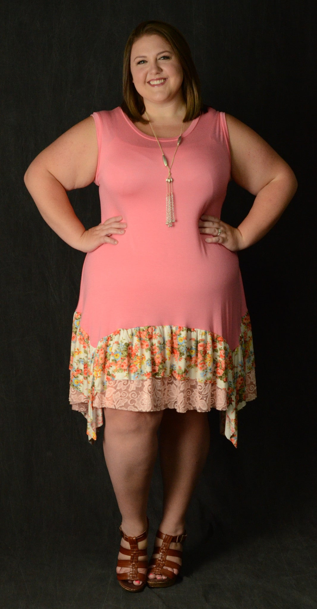 Pink Floral & Lace Tank Dress - www.mycurvystore.com - Curvy Boutique - Plus Size
