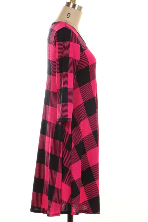 Pink Checker Dress - www.mycurvystore.com - Curvy Boutique - Plus Size