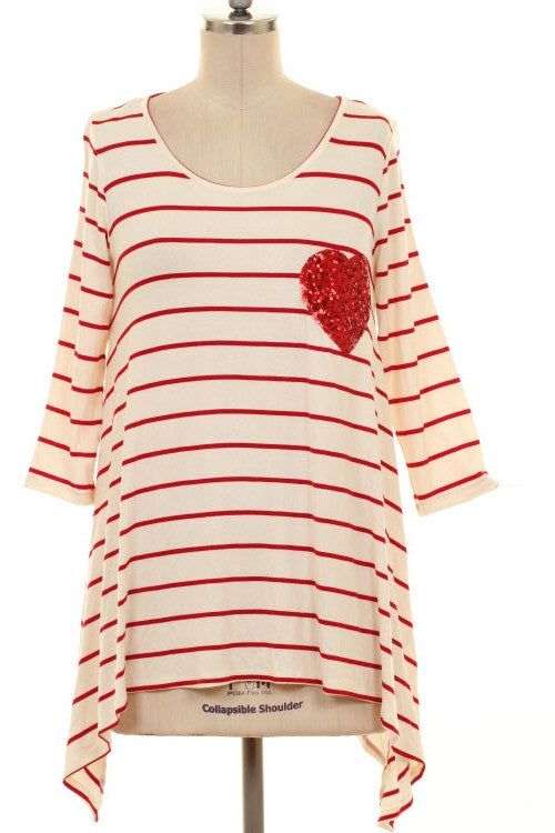 Striped Ivory Heart Patch Top - Curvy Plus Size Boutique - 3