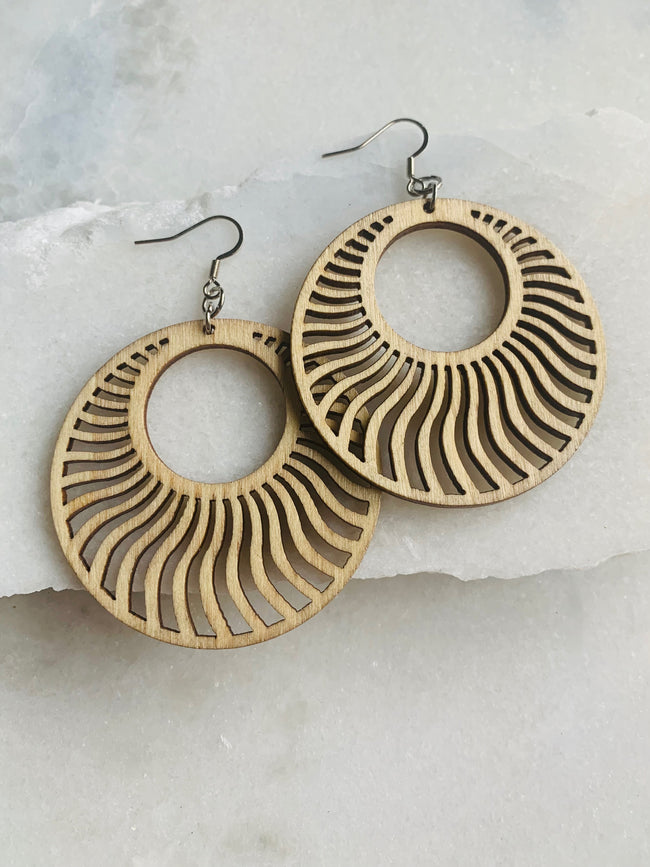 Carved Wood Disc Earrings - Natural