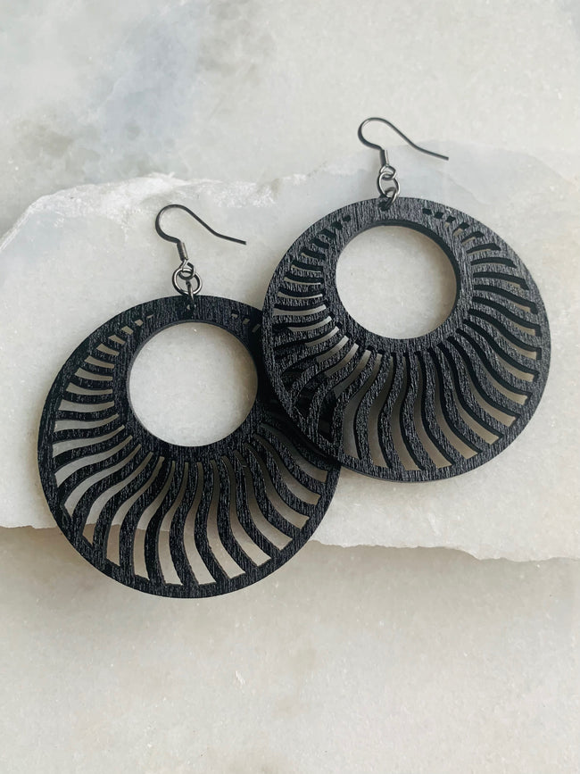 Carved Wood Disc Earrings - Black