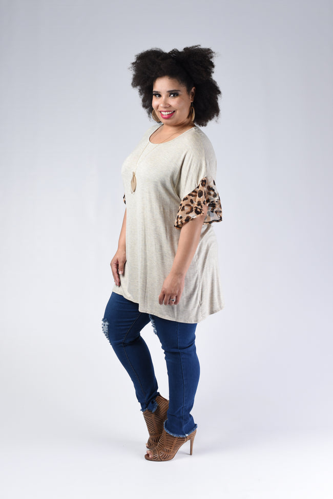 Happier Days Top, Heather Taupe