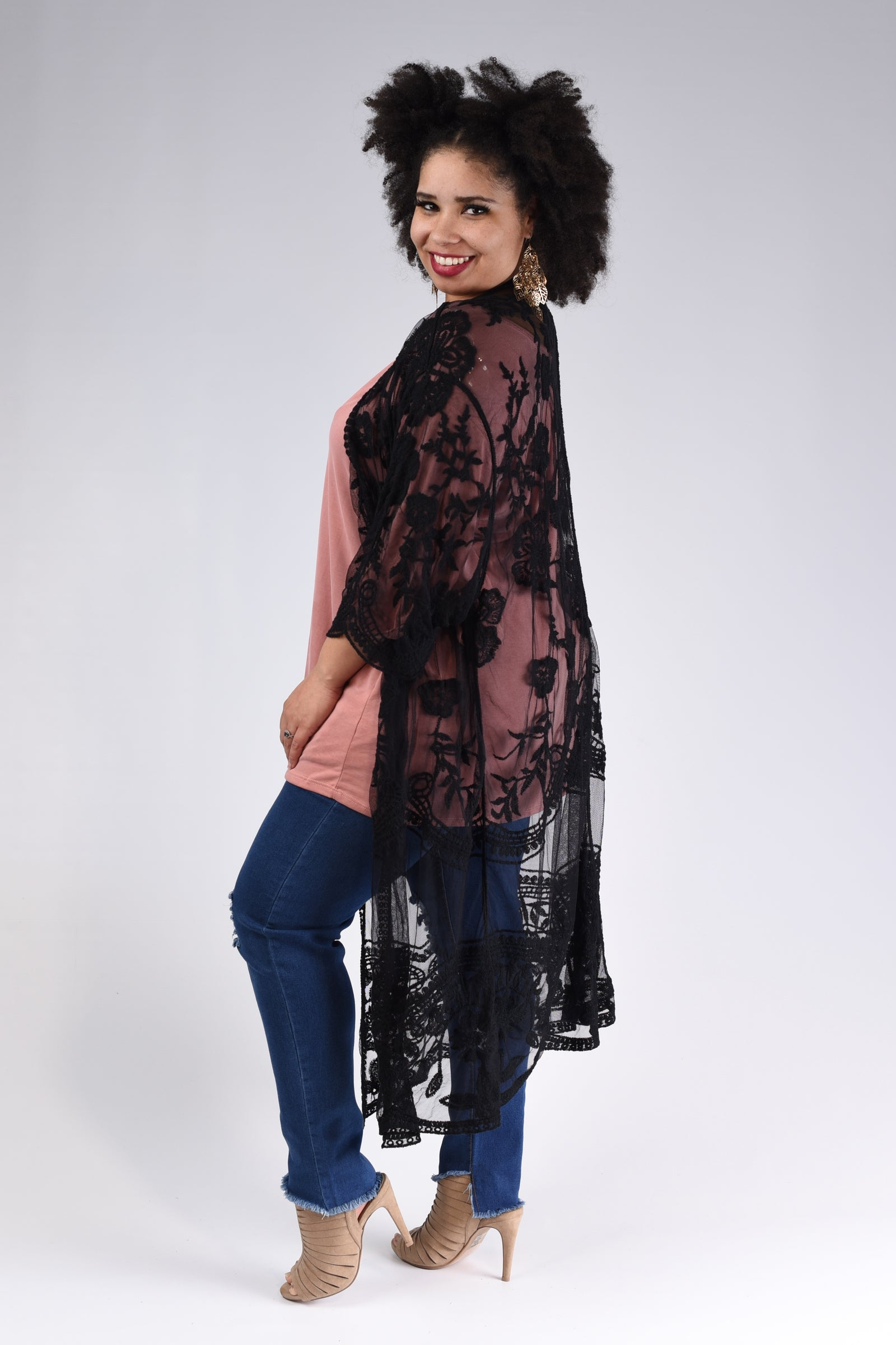 Romance Me Lace Cardigan, Black