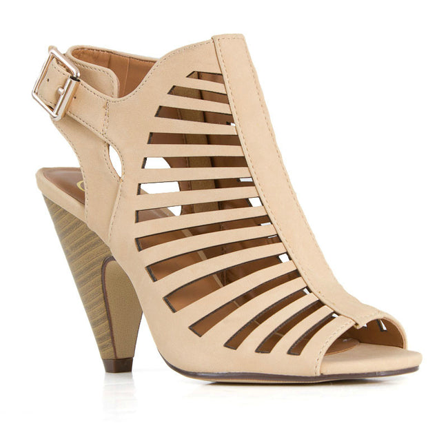Beige Laser Cut Stacked Heel - Curvy Plus Size Boutique - 1