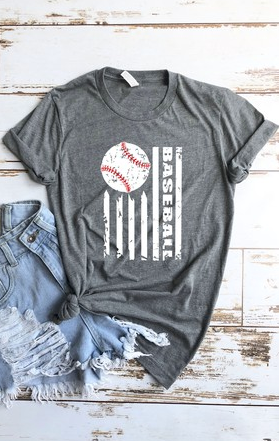 Charcoal Baseball Flag Tee - www.mycurvystore.com - Curvy Boutique - Plus Size