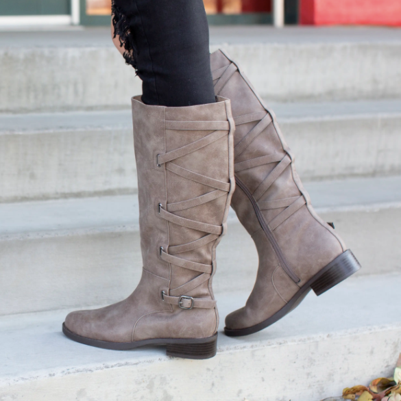 Lauren Boots - Wide Calf - Taupe