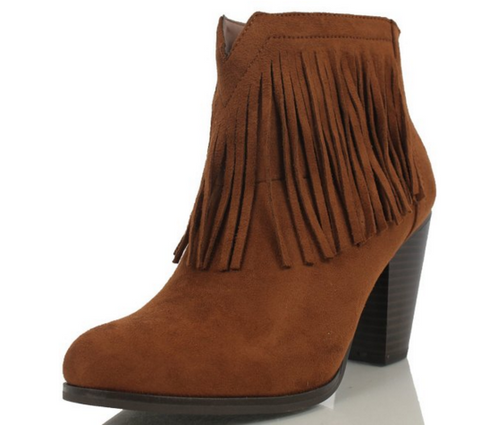 Light Taupe Ankle Fringe Booties
