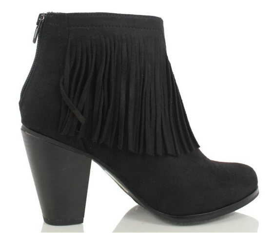 Black Fringe Booties - www.mycurvystore.com - Curvy Boutique - Plus Size