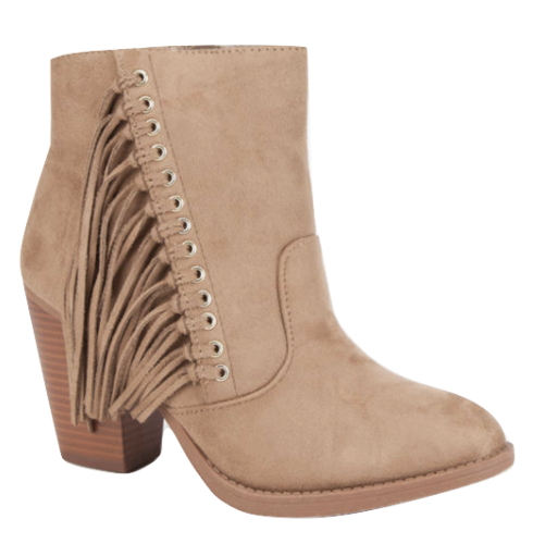 Light Taupe Ankle Fringe Booties - www.mycurvystore.com - Curvy Boutique - Plus Size