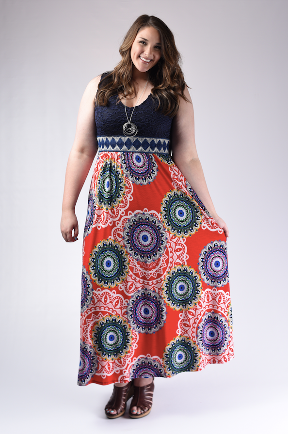 Navy Crochet & Geo Red Maxi Dress - www.mycurvystore.com - Curvy Boutique - Plus Size