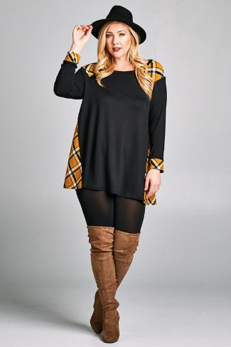 Black & Mustard Checker Contrast Top - www.mycurvystore.com - Curvy Boutique - Plus Size