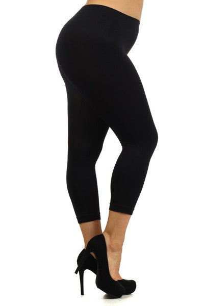 Capri Solid Leggings - One Size PLUS - www.mycurvystore.com - Curvy Boutique - Plus Size