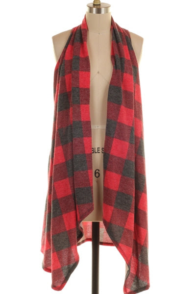 Red & Charcoal Checker Vest Cardigan - www.mycurvystore.com - Curvy Boutique - Plus Size