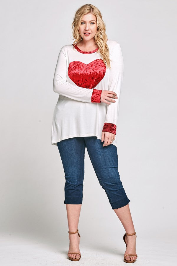 Red Velvet Heart Top - www.mycurvystore.com - Curvy Boutique