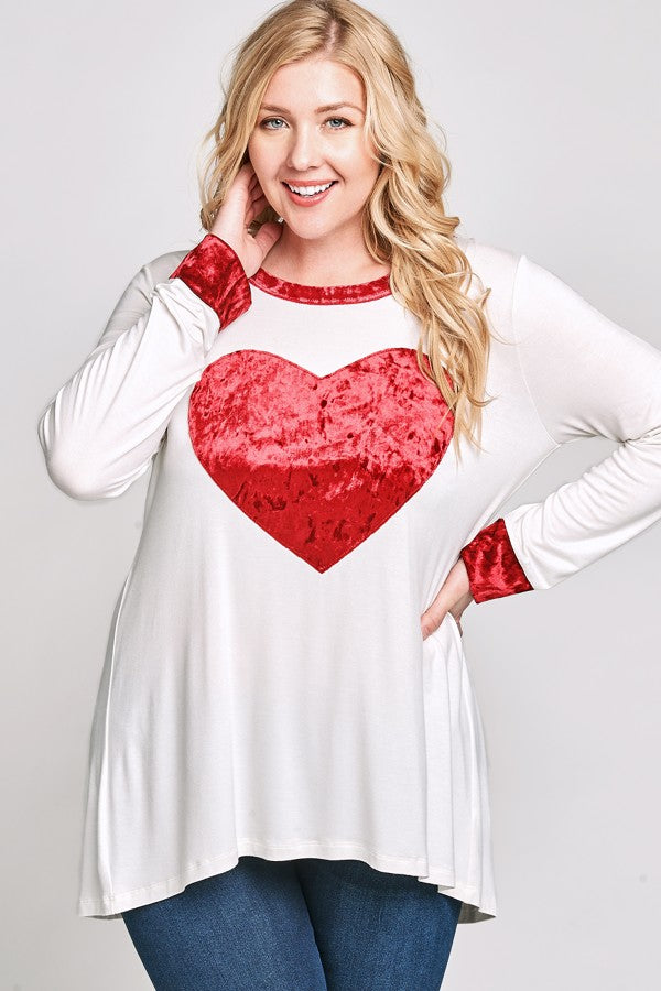 Red Velvet Heart Top - www.mycurvystore.com - Curvy Boutique - Plus Size