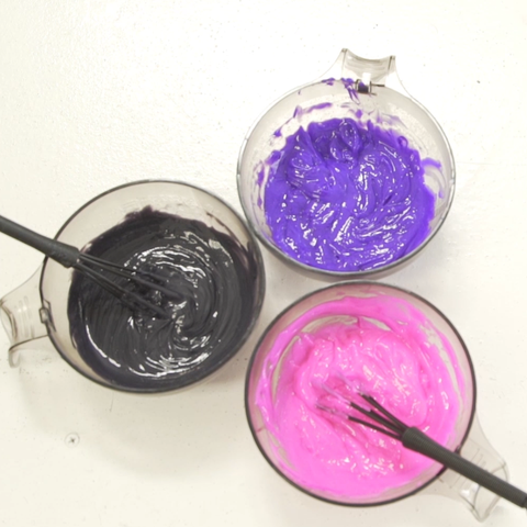 Brite semi permanent hair dyes in mixing bowl purple pink grey