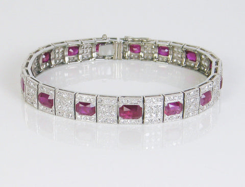 Art Deco ruby and diamond bracelet