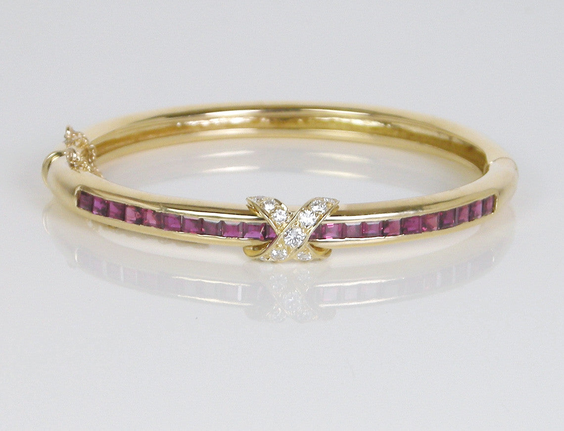Ruby and diamond bangle by Tiffany