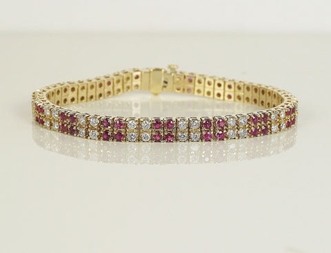 Diamond and ruby link bracelet