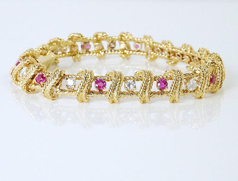 Rubies and diamonds in gold