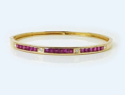Large size ruby and diamond bangle