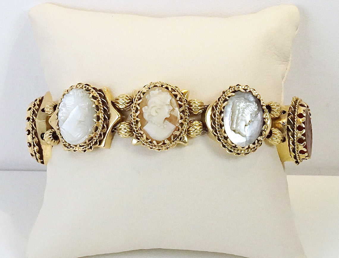 Carved cameo bracelet