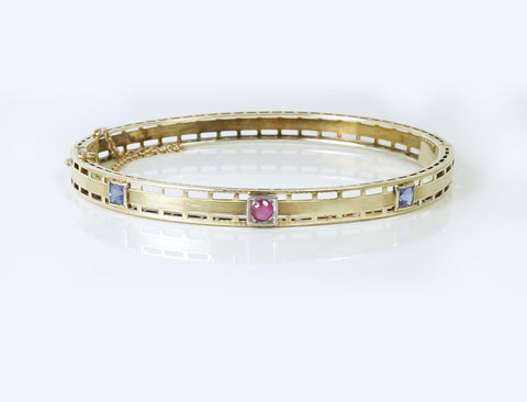 Vintage ruby and sapphire bangle bracelet