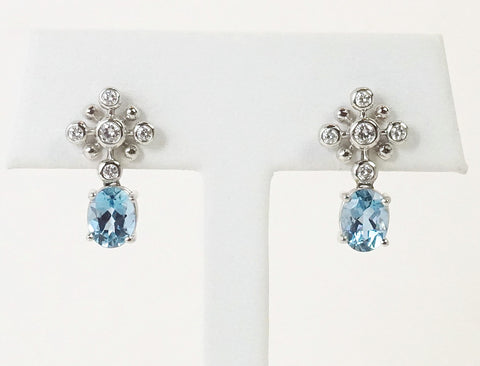 Aquamarine and diamond earrings by Tiffany