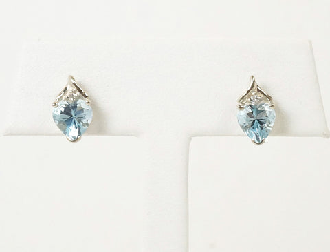 Aquamarine and diamond studs