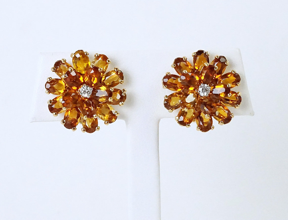 Unique citrine flower cluster earrings