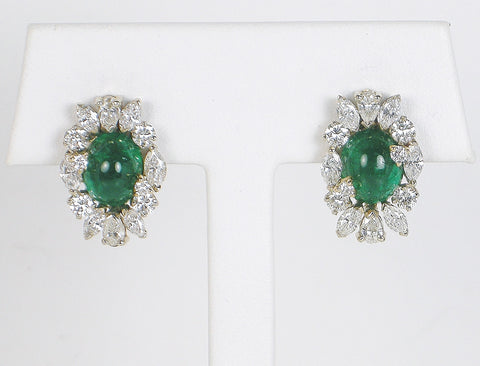 Emerald cabochon earrings