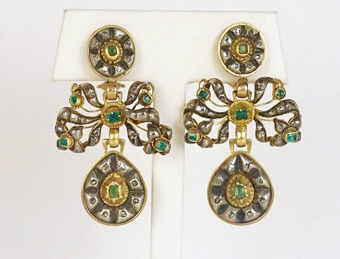 Dramatic vintage Georgian emerald earrings