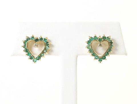 Heart-shaped emerald earrings