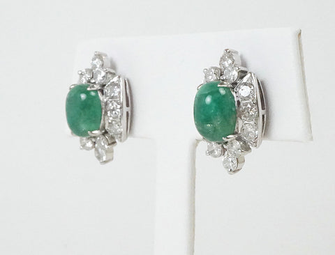 Emerald cabochons and diamonds